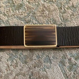 Kenneth Cole brown leather belt w slide buckle.